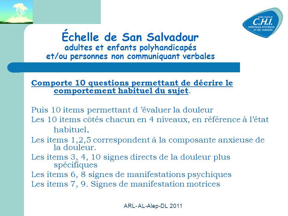 Échelle de San Salvadour adultes et enfants polyhandicapés et/ou personnes non communiquant verbales