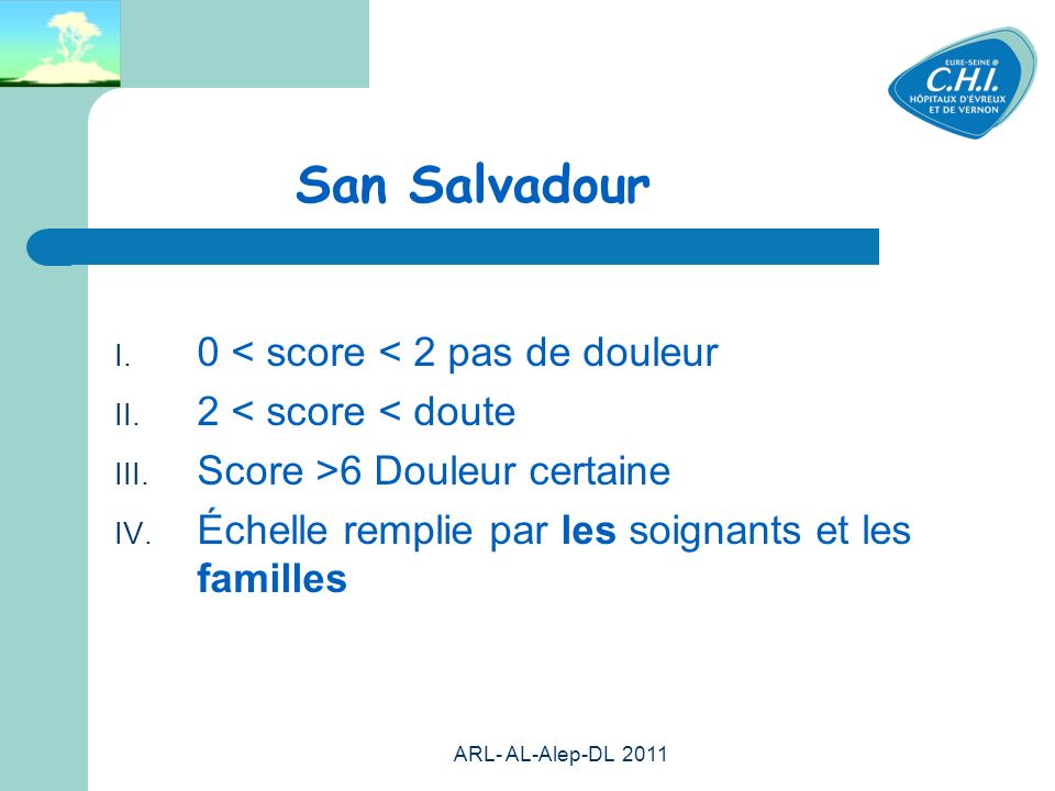 San Salvadour 0 < score < 2 pas de douleur