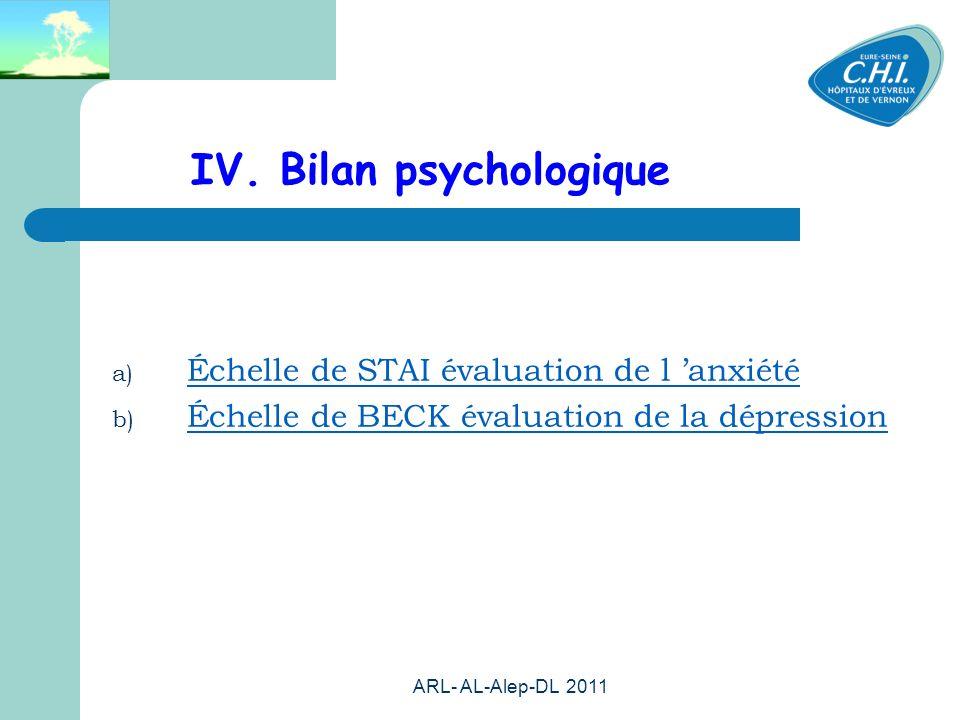 IV. Bilan psychologique