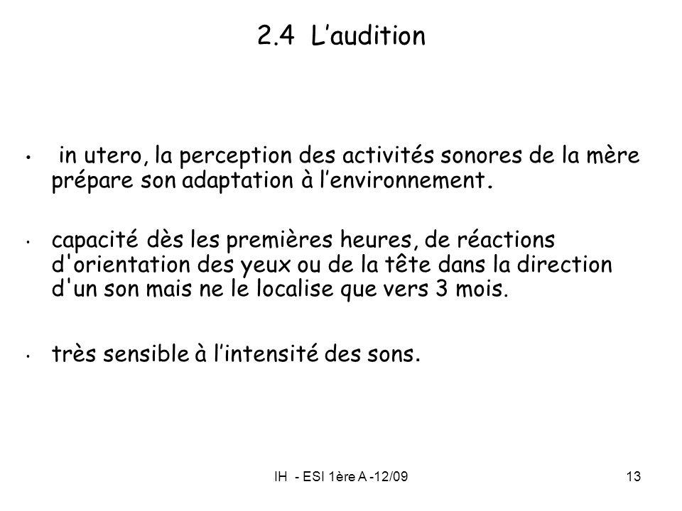 2.4 L'audition in utero, la perception des activités sonores de la mère prépare son adaptation à l'environnement.