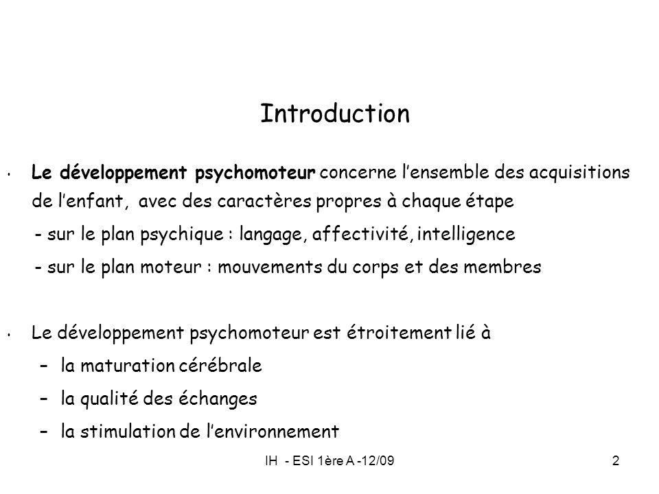 Introduction Le développement psychomoteur concerne l'ensemble des acquisitions de l'enfant, avec des caractères propres à chaque étape.