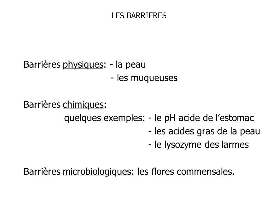 Barrières physiques: - la peau - les muqueuses Barrières chimiques: