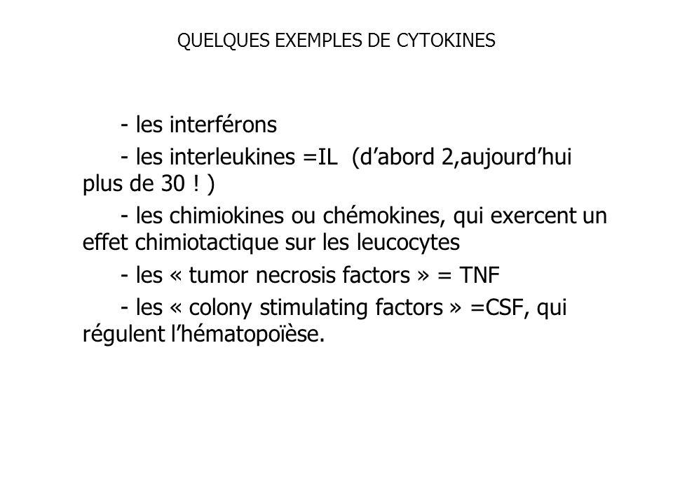 QUELQUES EXEMPLES DE CYTOKINES