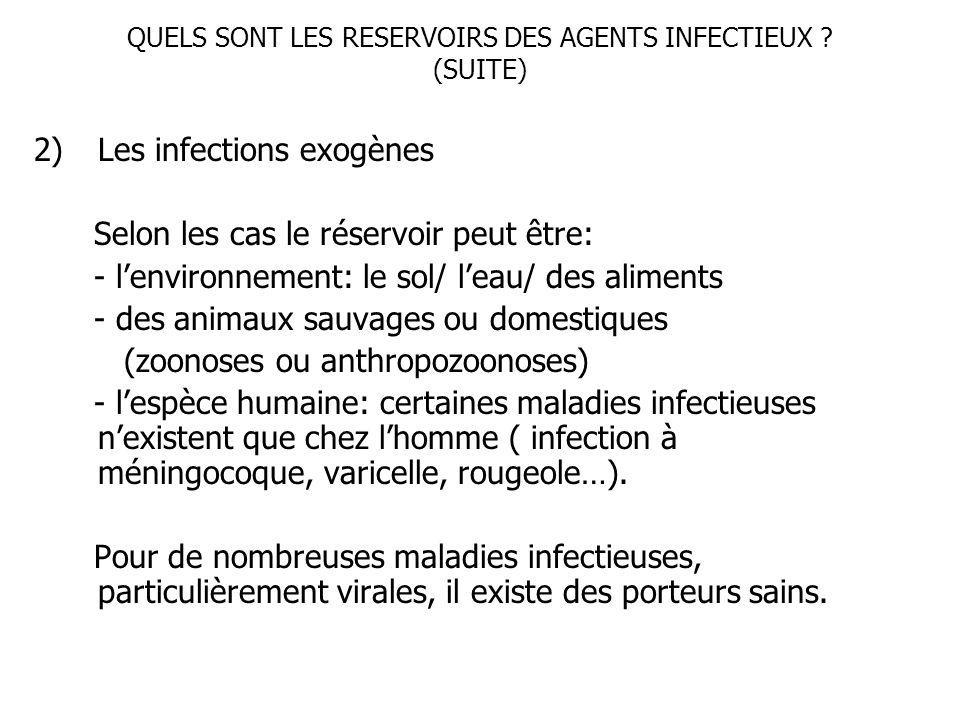 QUELS SONT LES RESERVOIRS DES AGENTS INFECTIEUX (SUITE)
