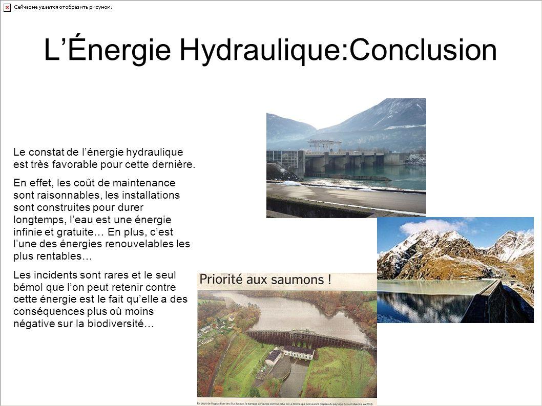 L'Énergie Hydraulique:Conclusion