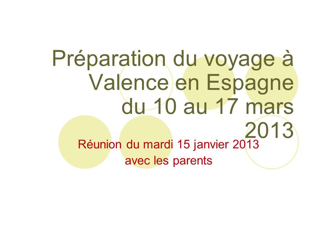 Préparation du voyage à Valence en Espagne du 10 au 17 mars 2013