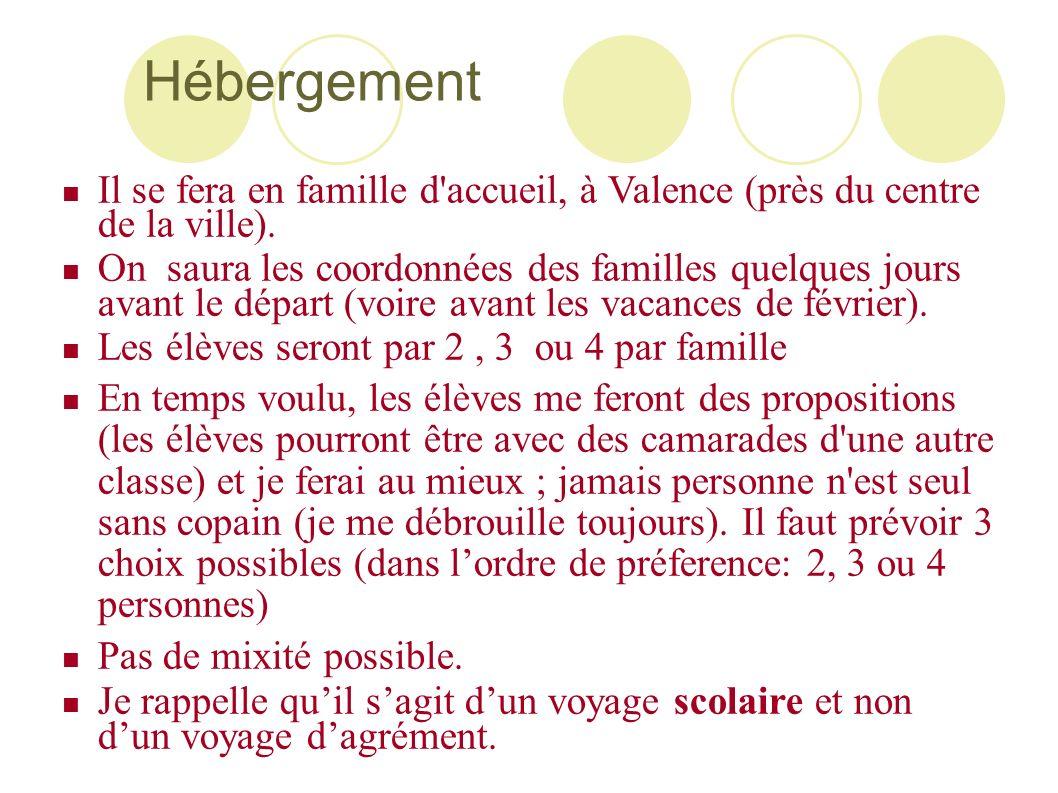HébergementIl se fera en famille d accueil, à Valence (près du centre de la ville).