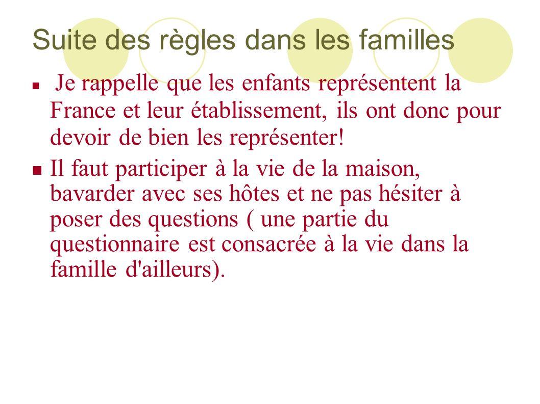 Suite des règles dans les familles