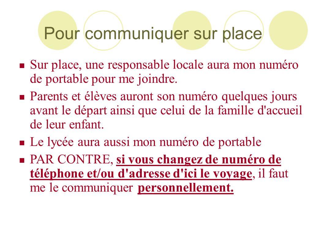 Pour communiquer sur place