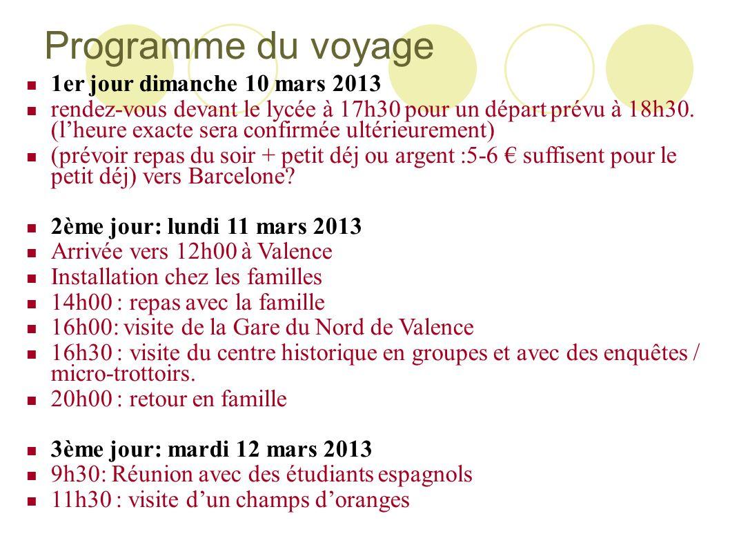 Programme du voyage 1er jour dimanche 10 mars 2013