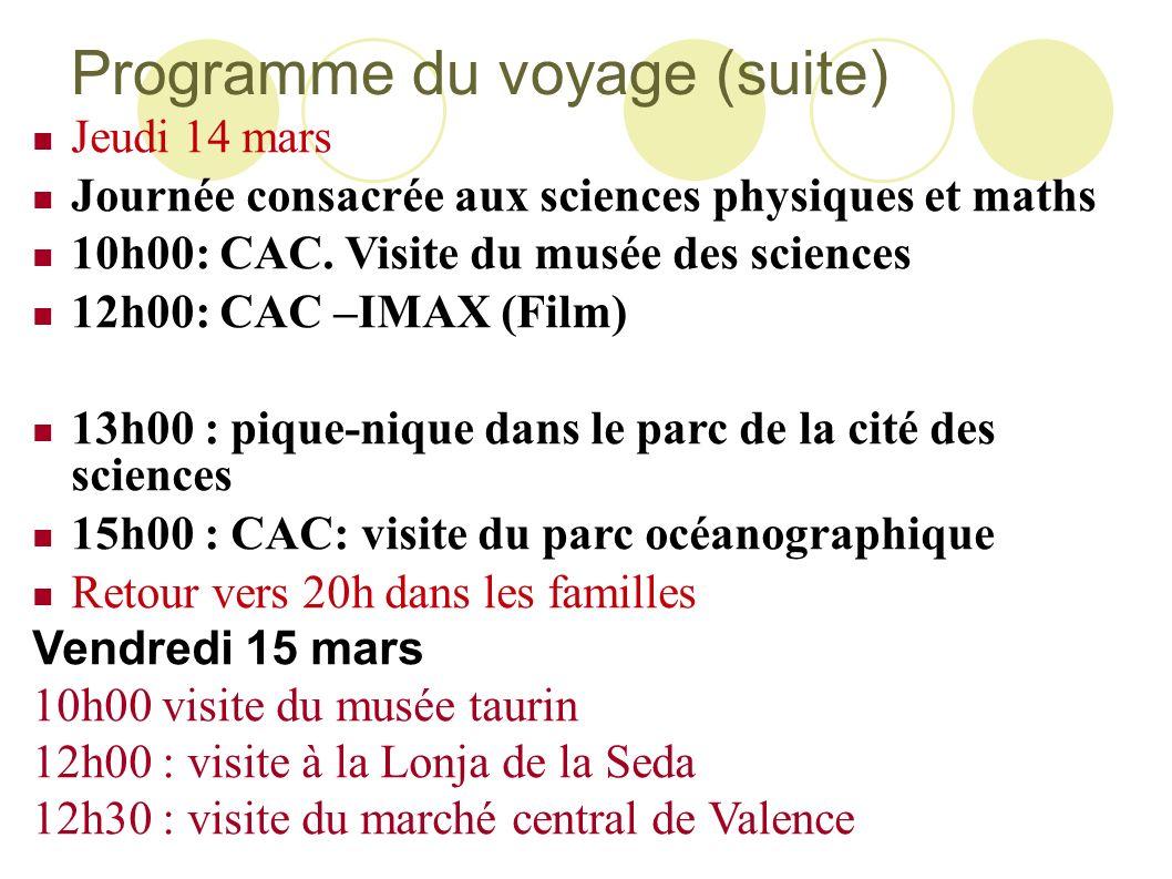 Programme du voyage (suite)