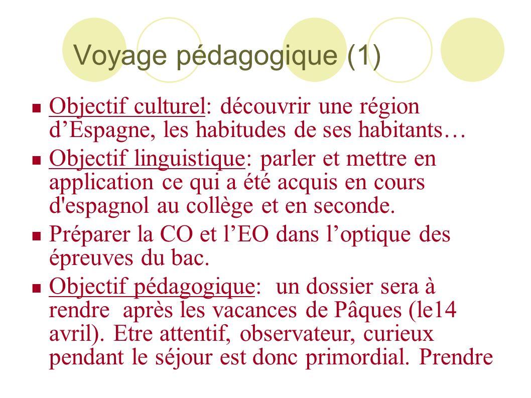 Voyage pédagogique (1) Objectif culturel: découvrir une région d'Espagne, les habitudes de ses habitants…