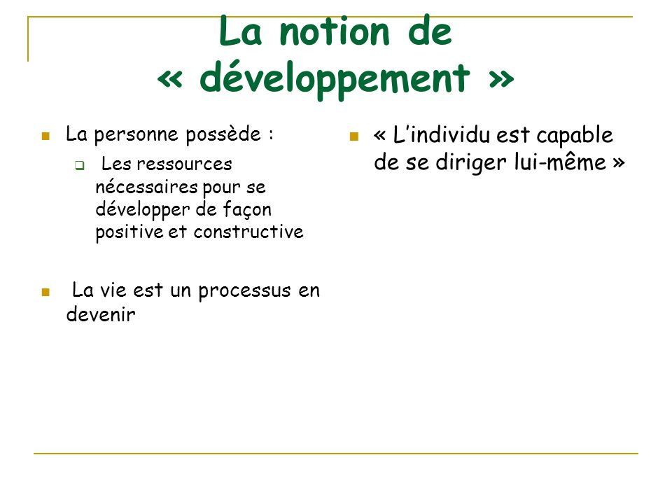 La notion de « développement »