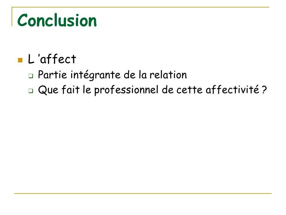 Conclusion L 'affect Partie intégrante de la relation