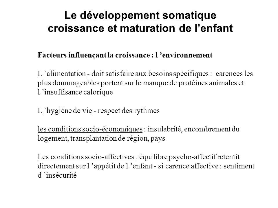 Le développement somatique croissance et maturation de l'enfant