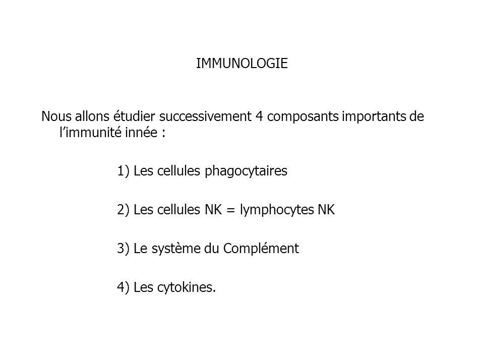 IMMUNOLOGIE Nous allons étudier successivement 4 composants importants de l'immunité innée : 1) Les cellules phagocytaires.