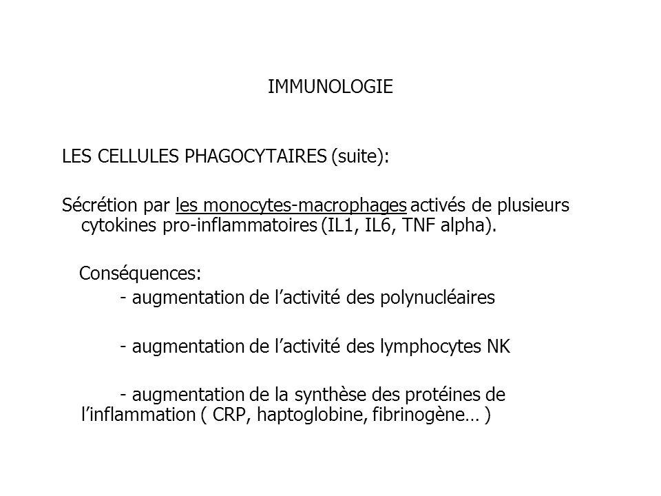 IMMUNOLOGIELES CELLULES PHAGOCYTAIRES (suite):