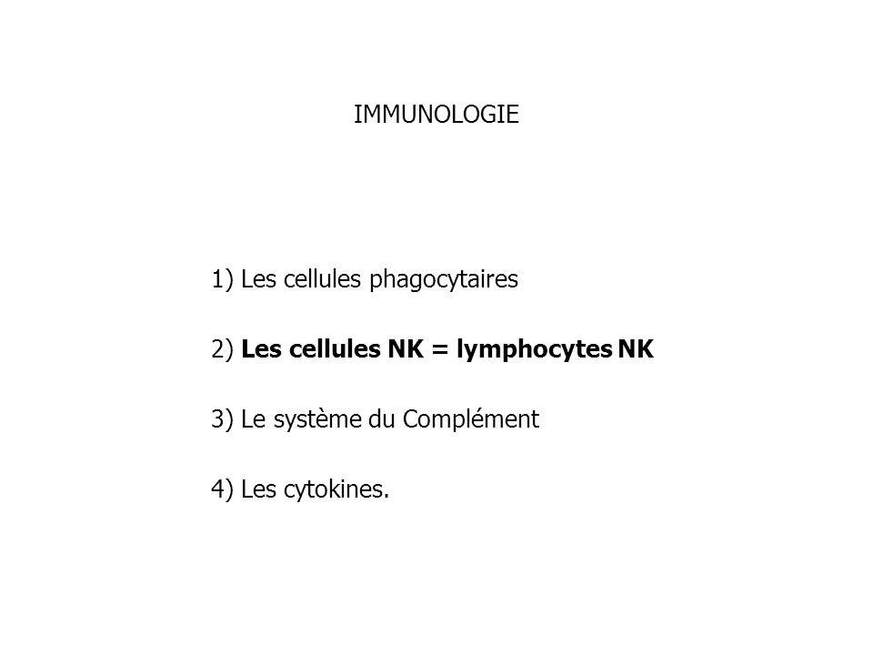 IMMUNOLOGIE1) Les cellules phagocytaires. 2) Les cellules NK = lymphocytes NK. 3) Le système du Complément.