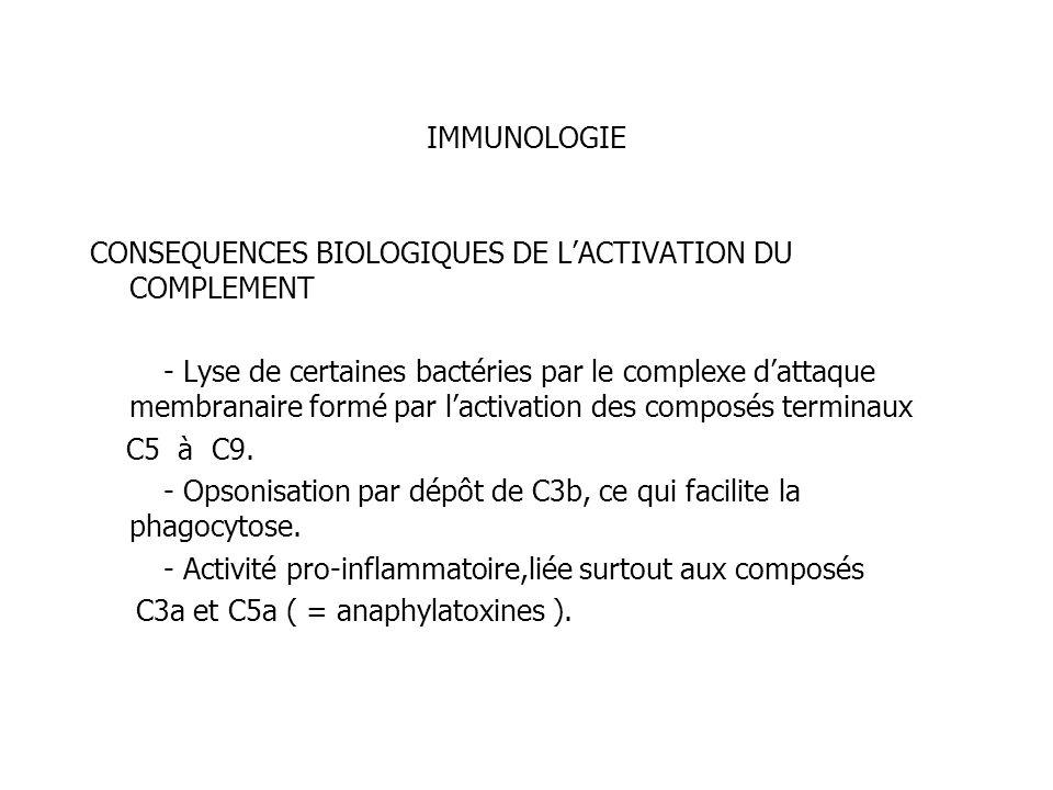 IMMUNOLOGIE CONSEQUENCES BIOLOGIQUES DE L'ACTIVATION DU COMPLEMENT.