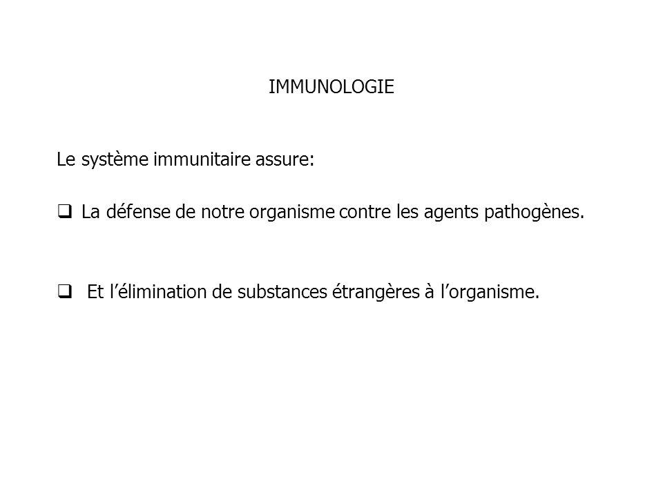 IMMUNOLOGIE Le système immunitaire assure: La défense de notre organisme contre les agents pathogènes.