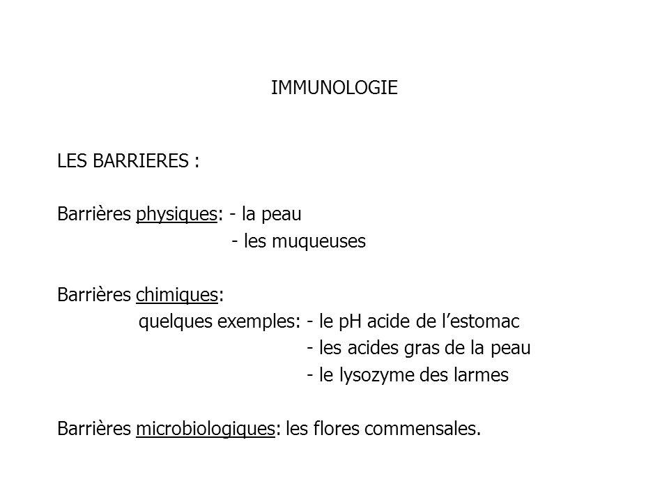 IMMUNOLOGIELES BARRIERES : Barrières physiques: - la peau. - les muqueuses. Barrières chimiques: quelques exemples: - le pH acide de l'estomac.