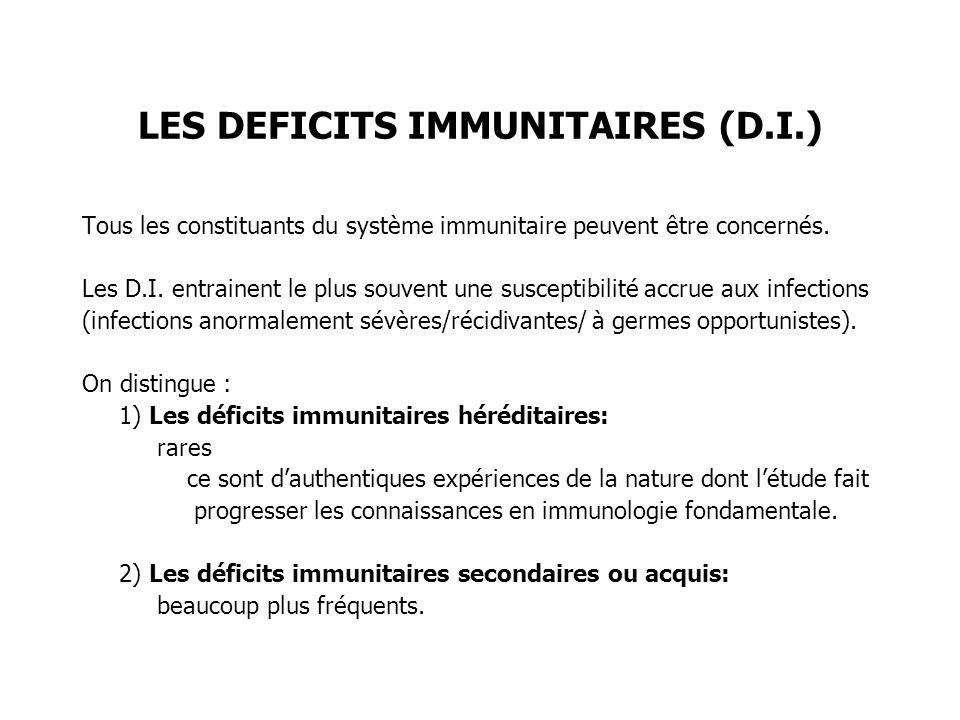 LES DEFICITS IMMUNITAIRES (D.I.)