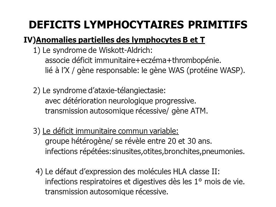 DEFICITS LYMPHOCYTAIRES PRIMITIFS