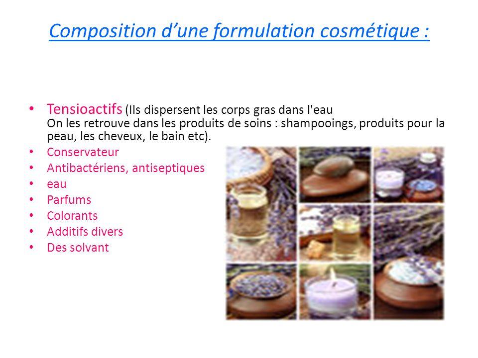 Composition d'une formulation cosmétique :