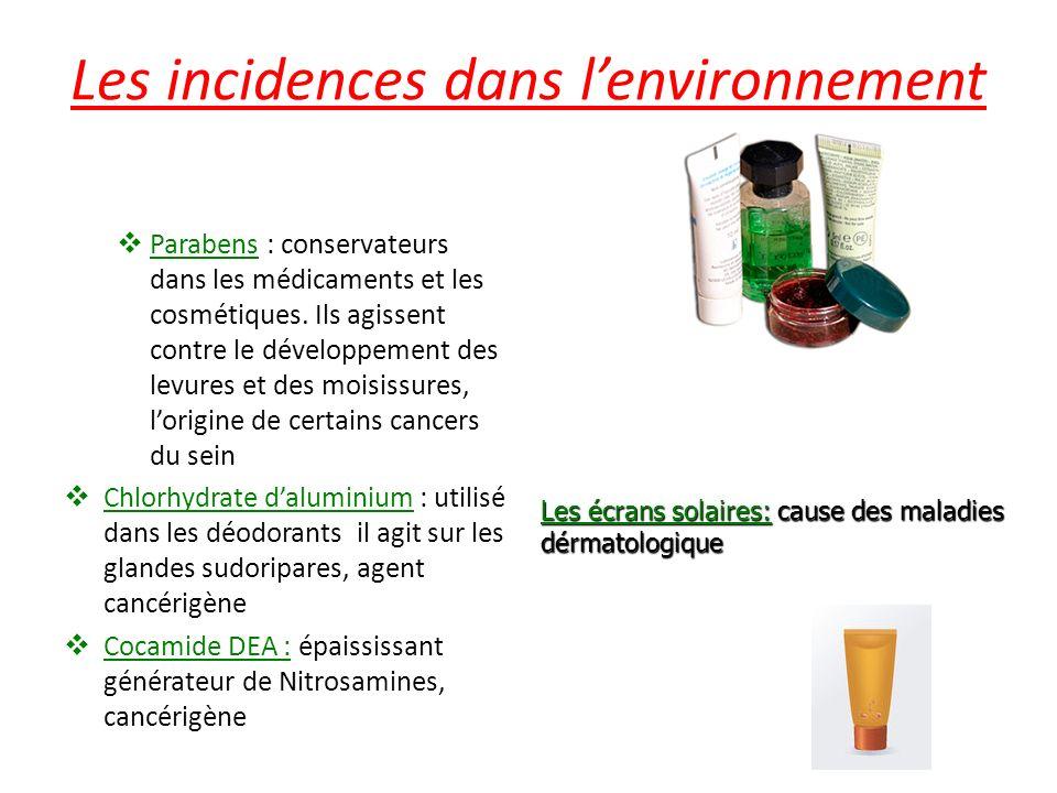 Les incidences dans l'environnement