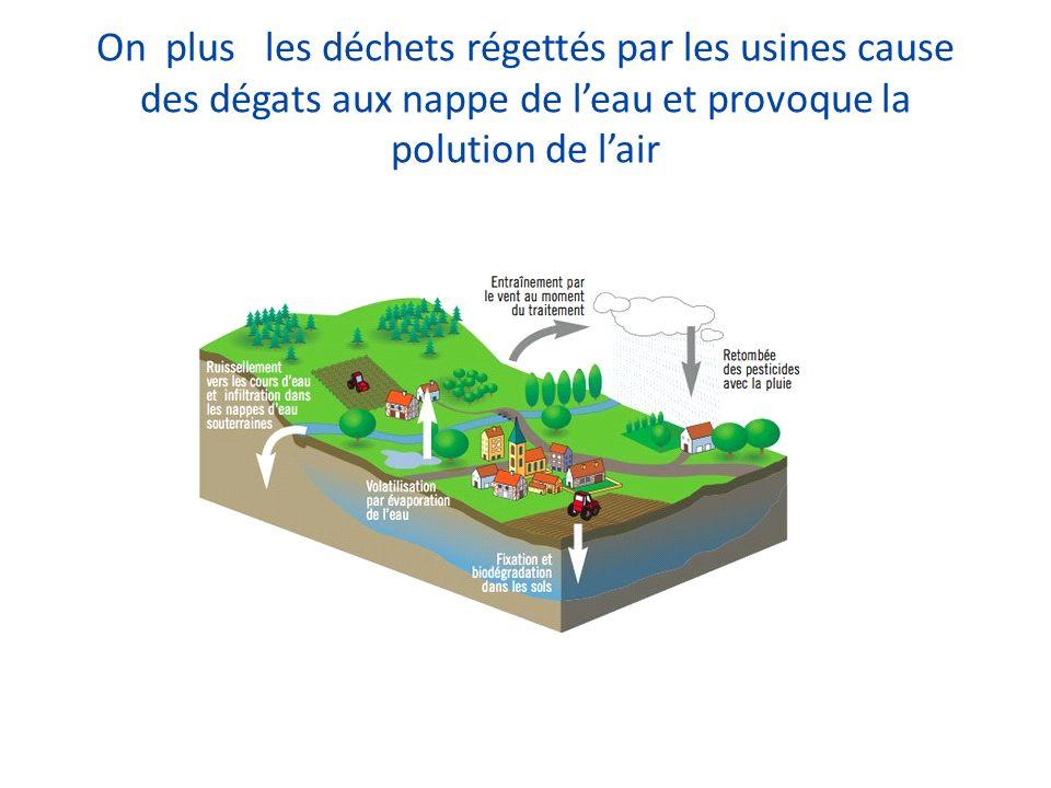 On plus les déchets régettés par les usines cause des dégats aux nappe de l'eau et provoque la polution de l'air