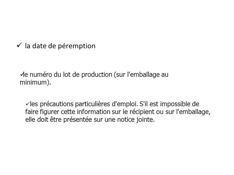 la date de péremption le numéro du lot de production (sur l emballage au minimum). -les précautions.