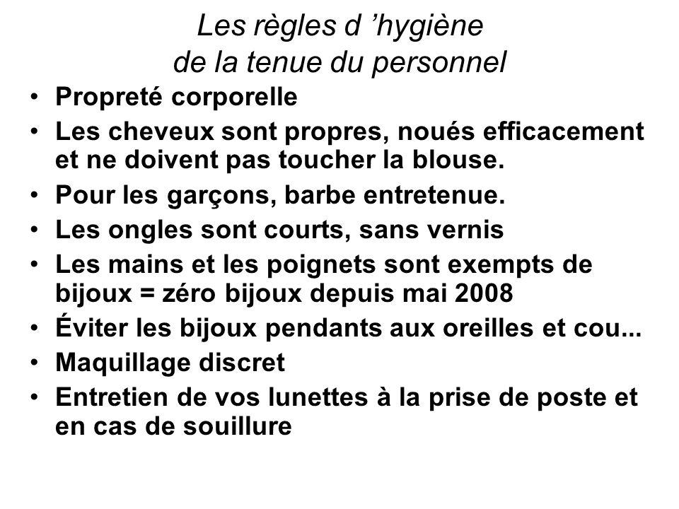 Les règles d 'hygiène de la tenue du personnel