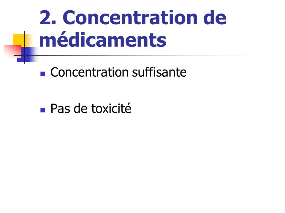 2. Concentration de médicaments