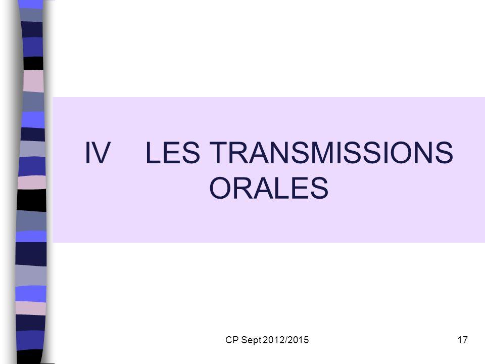 IV LES TRANSMISSIONS ORALES
