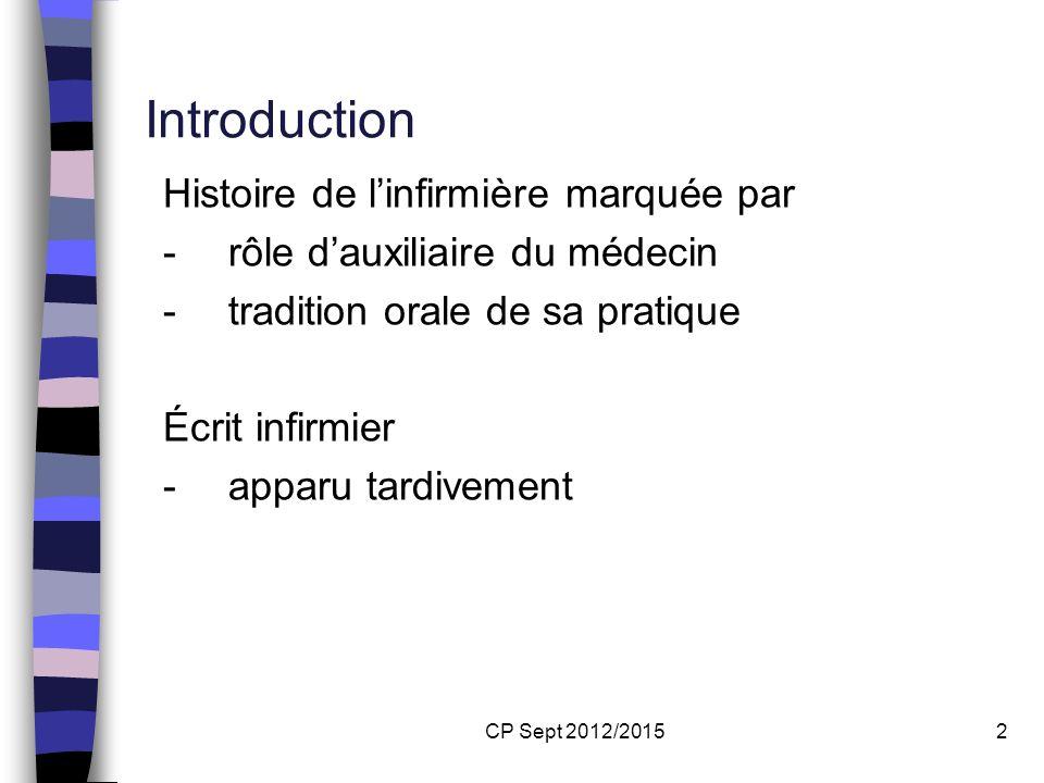 Introduction Histoire de l'infirmière marquée par