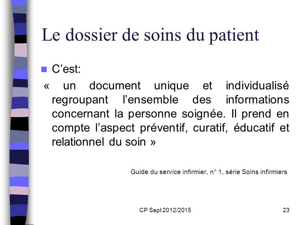 Le dossier de soins du patient