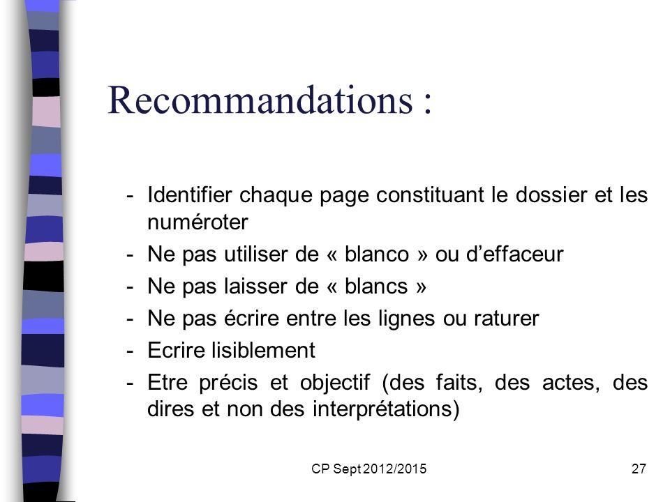 Recommandations :Identifier chaque page constituant le dossier et les numéroter. Ne pas utiliser de « blanco » ou d'effaceur.