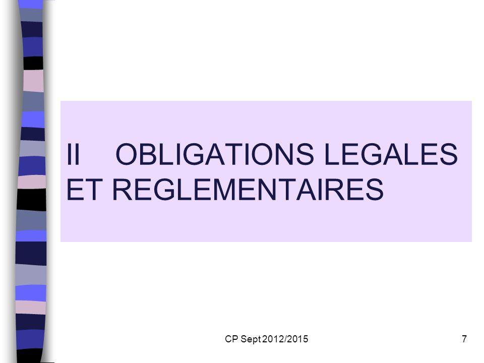 II OBLIGATIONS LEGALES ET REGLEMENTAIRES