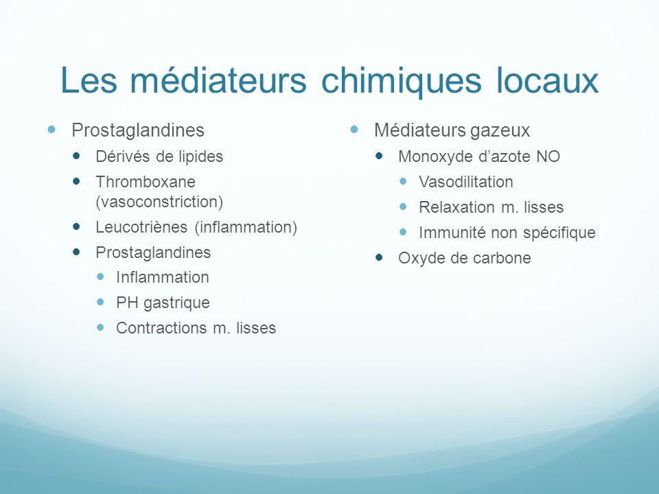 Les médiateurs chimiques locaux
