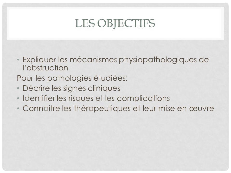 Les objectifs Expliquer les mécanismes physiopathologiques de l'obstruction. Pour les pathologies étudiées: