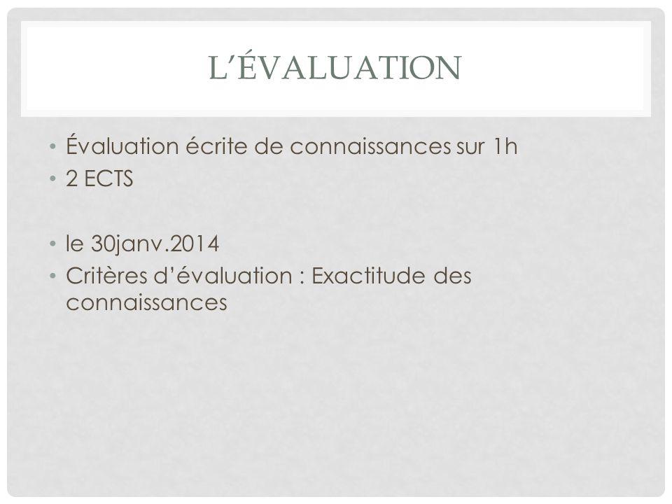 L'ÉVALUATION Évaluation écrite de connaissances sur 1h 2 ECTS