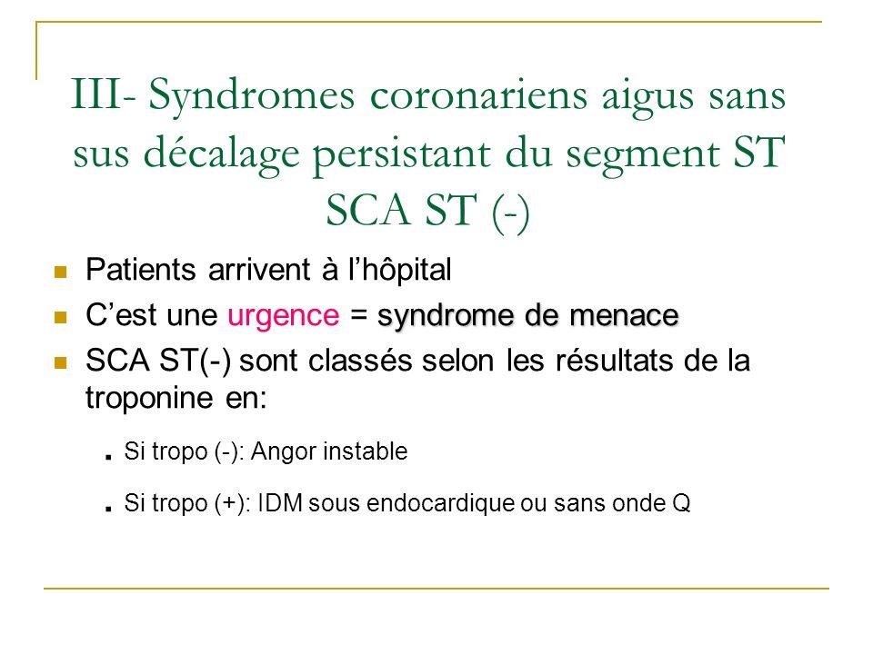 III- Syndromes coronariens aigus sans sus décalage persistant du segment ST SCA ST (-)