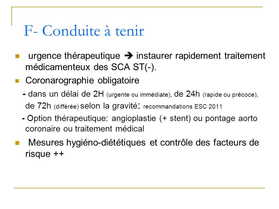 F- Conduite à tenirurgence thérapeutique  instaurer rapidement traitement médicamenteux des SCA ST(-).