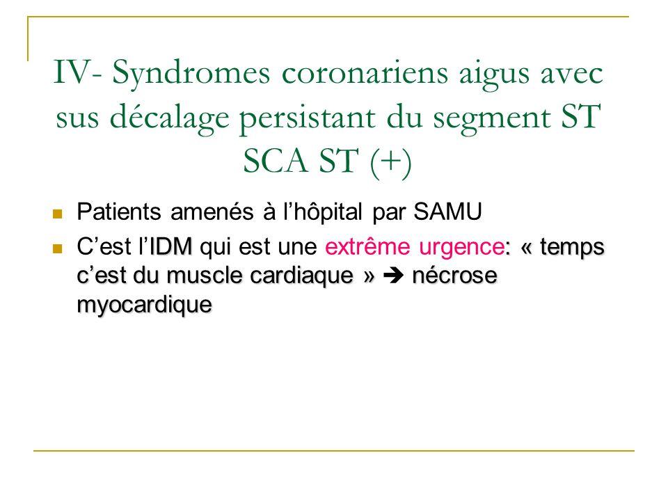 IV- Syndromes coronariens aigus avec sus décalage persistant du segment ST SCA ST (+)