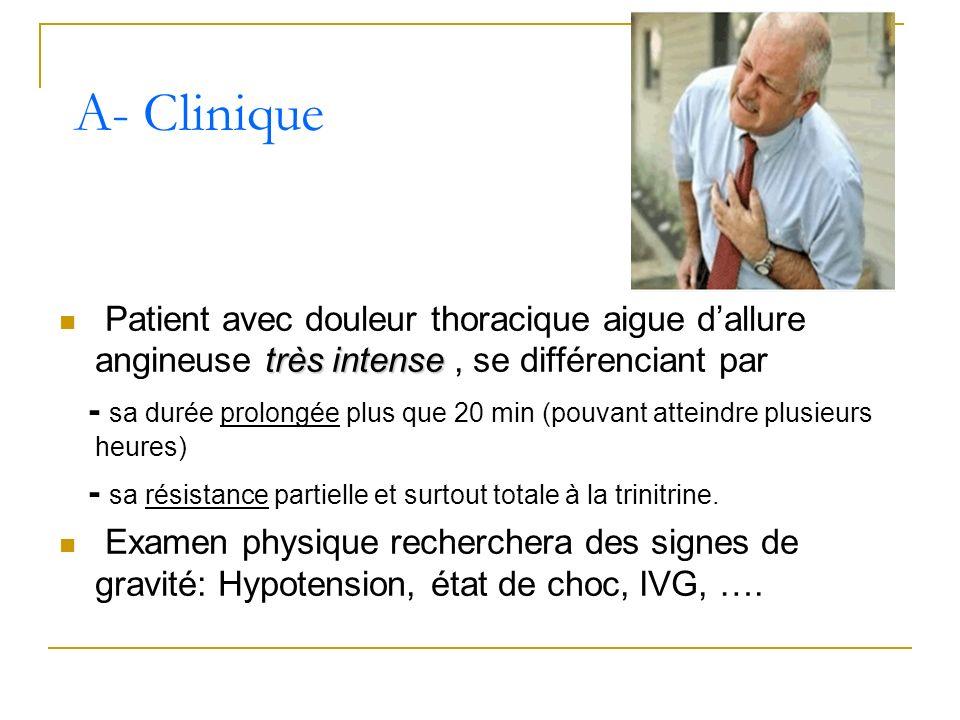 A- Clinique Patient avec douleur thoracique aigue d'allure angineuse très intense , se différenciant par.
