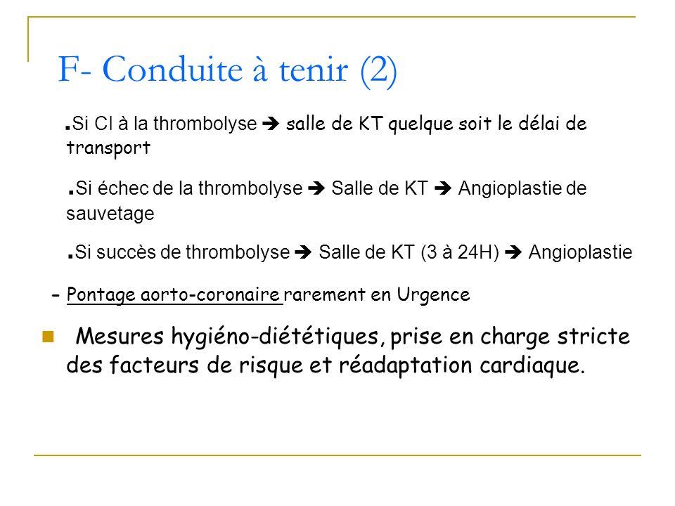 F- Conduite à tenir (2).Si CI à la thrombolyse  salle de KT quelque soit le délai de transport.