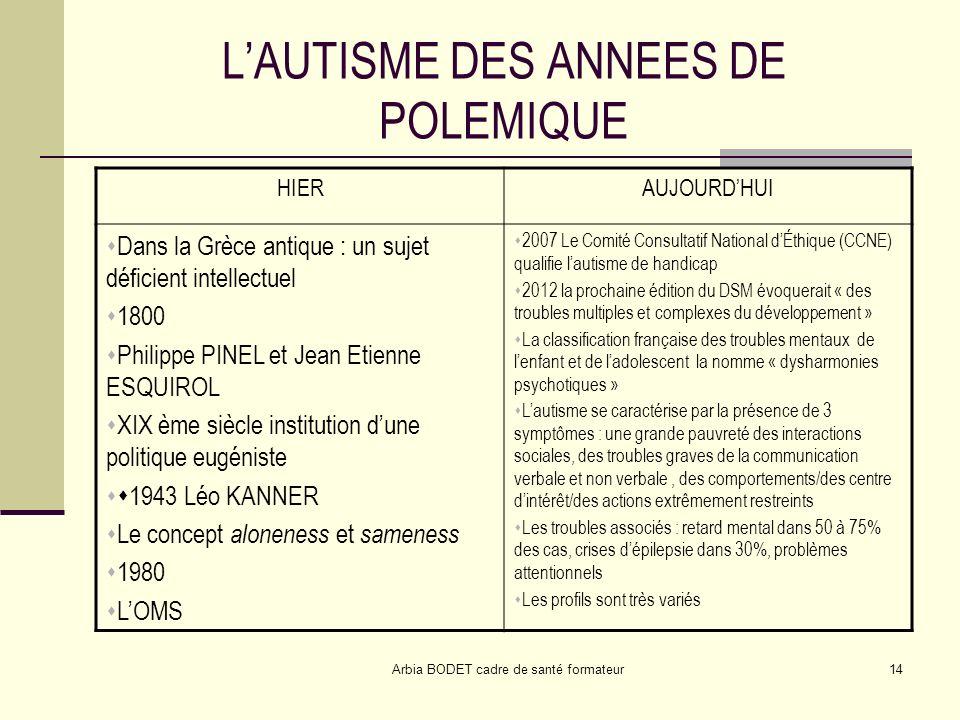 L'AUTISME DES ANNEES DE POLEMIQUE