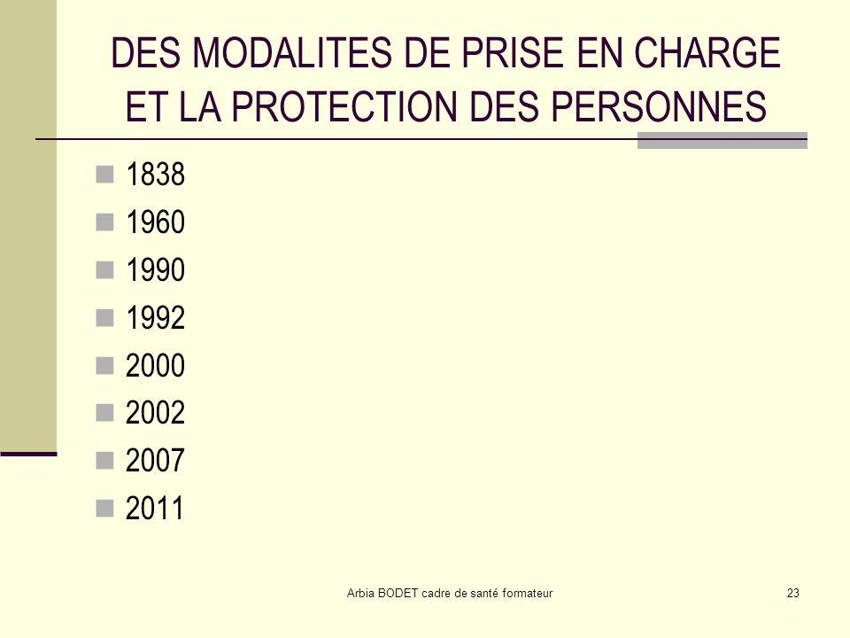 DES MODALITES DE PRISE EN CHARGE ET LA PROTECTION DES PERSONNES