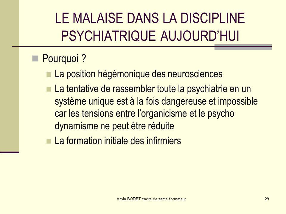 LE MALAISE DANS LA DISCIPLINE PSYCHIATRIQUE AUJOURD'HUI