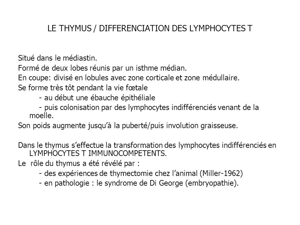 LE THYMUS / DIFFERENCIATION DES LYMPHOCYTES T